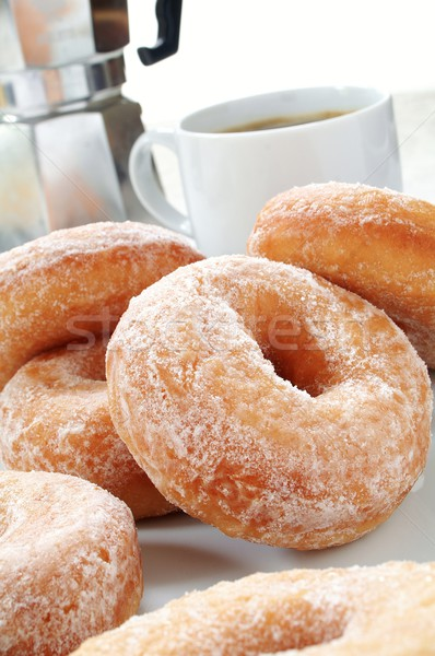 Traditionnel donuts café fraîches sweet sucre Photo stock © neillangan