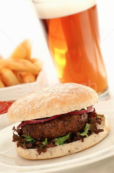 Burger salata beyaz hamburger yemek Stok fotoğraf © neillangan