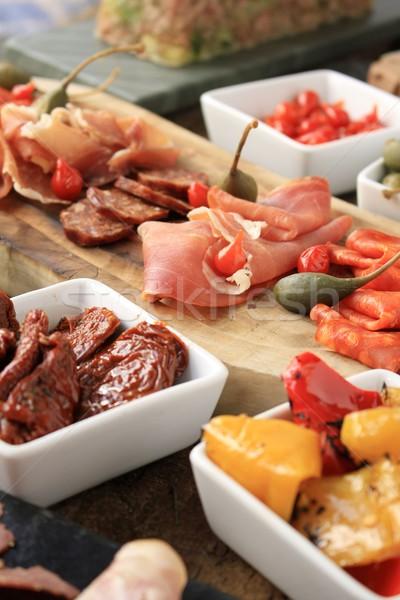 Antipasti gıda tablo domates öğle yemeği taze Stok fotoğraf © neillangan