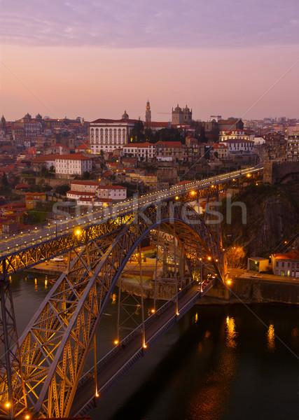 Stockfoto: Oude · zonsondergang · Portugal · brug · hemel · water