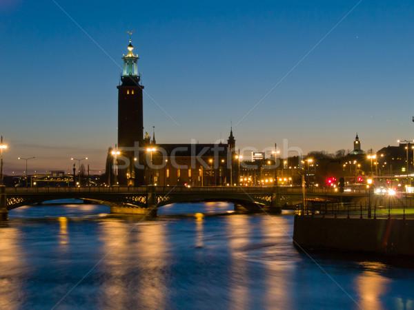 Cena noturna cidade ouvir Estocolmo Suécia lago Foto stock © neirfy