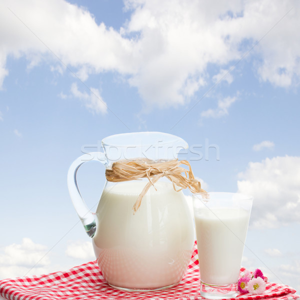 jar of milk and glass outdoor Stock photo © neirfy