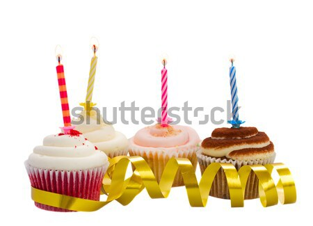 Two cupcakes with candles Stock photo © neirfy