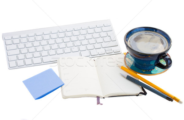 open note pad  on working table on white Stock photo © neirfy