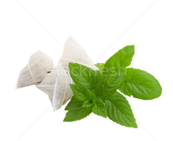чай мешки мята трава изолированный белый Сток-фото © neirfy