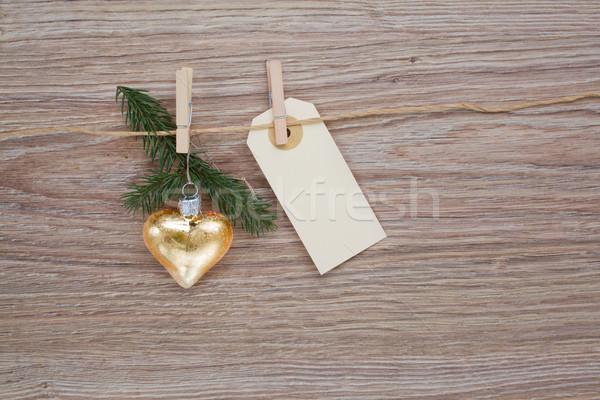 Stock fotó: Karácsony · arany · szív · címke · üres · akasztás