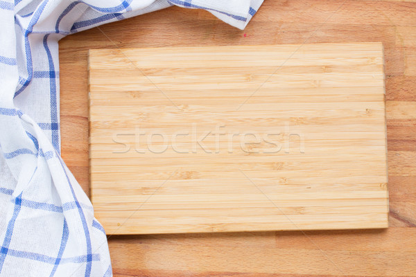 Vágódeszka kék szalvéta üres fából készült ruha Stock fotó © neirfy