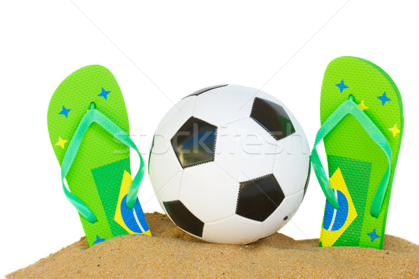 football ball in sand Stock photo © neirfy