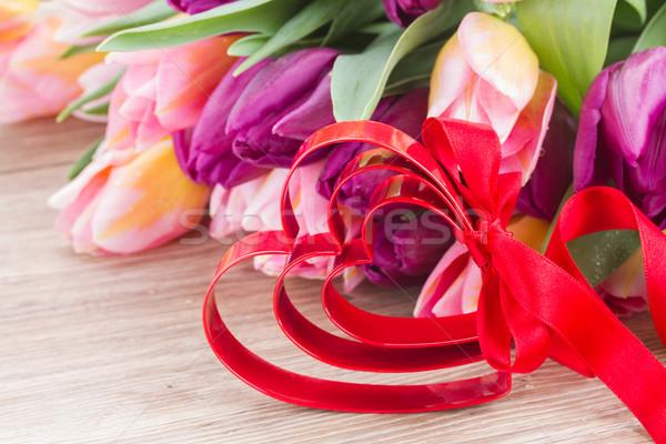Ramo tulipán flores corazón rojo Foto stock © neirfy
