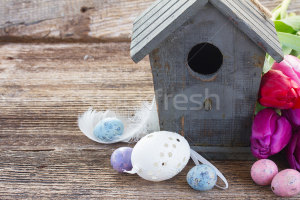 easter eggs with birdcage Stock photo © neirfy