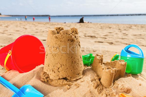 Homokvár tengerparti homok kastély napos nyár tengerpart Stock fotó © neirfy