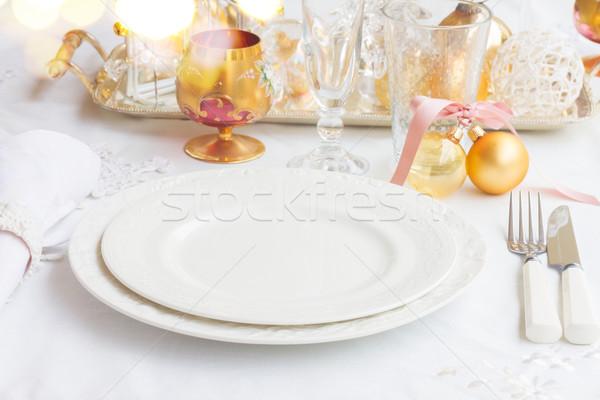 Рождества посуда набор пусто пластин белый Сток-фото © neirfy