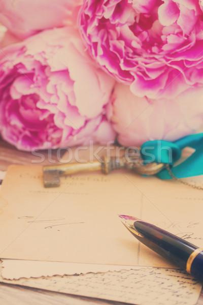 Pen antichi lettere vecchio fiori Foto d'archivio © neirfy