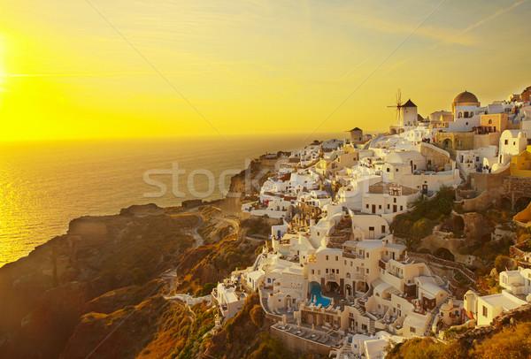 Stock fotó: Szélmalom · naplemente · Santorini · sziget · tenger · város