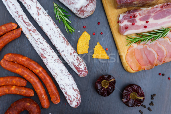 Picknicktafel spaans worst tapas salami chorizo Stockfoto © neirfy
