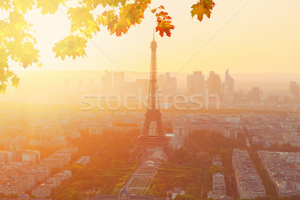 Torre Eiffel Parigi cityscape sopra arancione caduta Foto d'archivio © neirfy