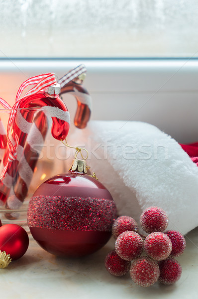 Christmas scene on windowsill Stock photo © neirfy
