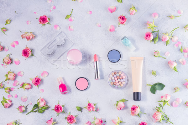 Colorful make up and roses flat lay scene Stock photo © neirfy