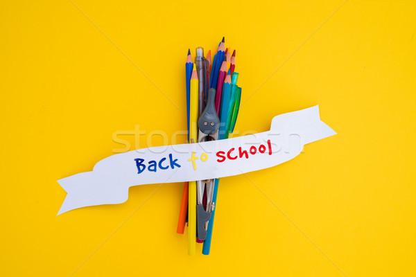 Zurück in die Schule Schulbedarf Text Band Schule Kinder Stock foto © neirfy