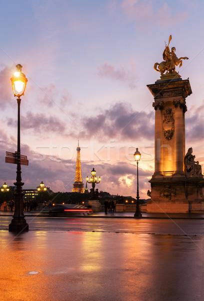 Most Wieża Eiffla Paryż fioletowy Francja wody Zdjęcia stock © neirfy