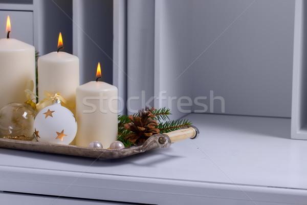 Brennen Aufkommen Kerzen vier weiß Weihnachten Stock foto © neirfy