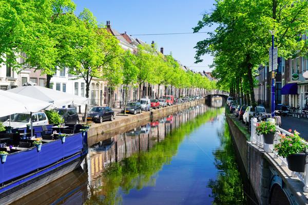 Altstadt holland Straße Wasser Kanal Sommer Stock foto © neirfy