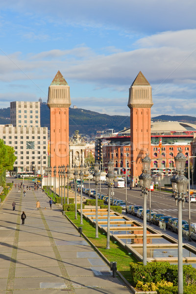 venetian towers from Montjuic, Barcelona Stock photo © neirfy