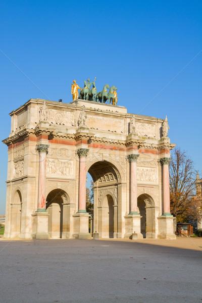 Триумфальная арка Париж Франция за пределами Лувр дерево Сток-фото © neirfy