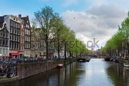 Сток-фото: канал · кольца · Амстердам · Нидерланды · старые · домах