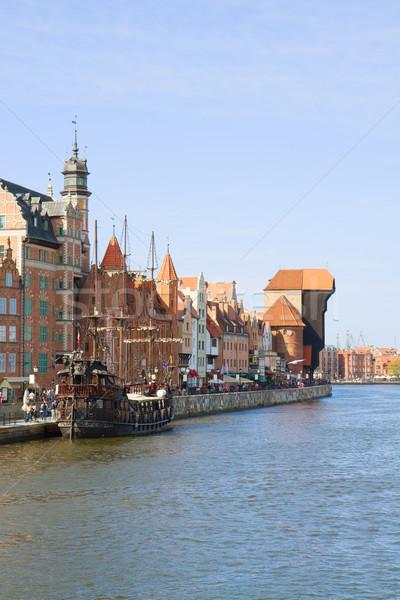 Città vecchia acqua danzica fiume blu barca Foto d'archivio © neirfy