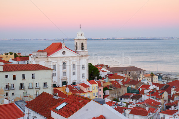 view of Alfama at sunset, Lisbon, Portugal Stock photo © neirfy