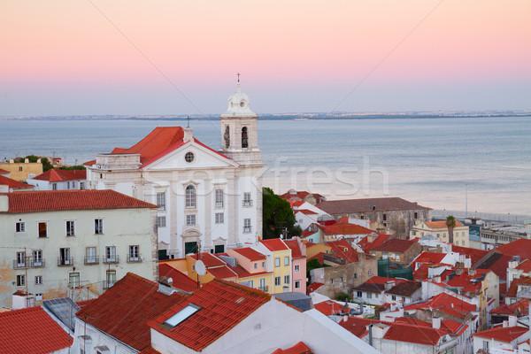 Vista puesta de sol Lisboa Portugal barrio antiguo ciudad Foto stock © neirfy