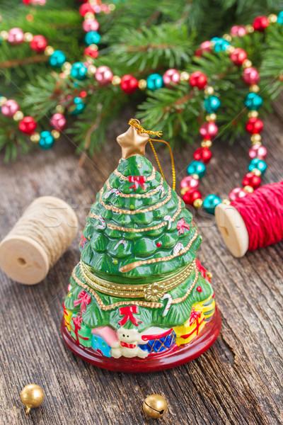 Natale evergreen albero decorazione legno vetro Foto d'archivio © neirfy
