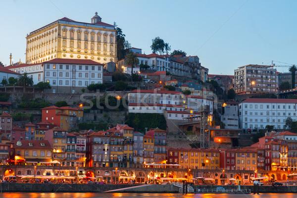 夜景 ポルトガル 旧市街 丘 水 家 ストックフォト © neirfy
