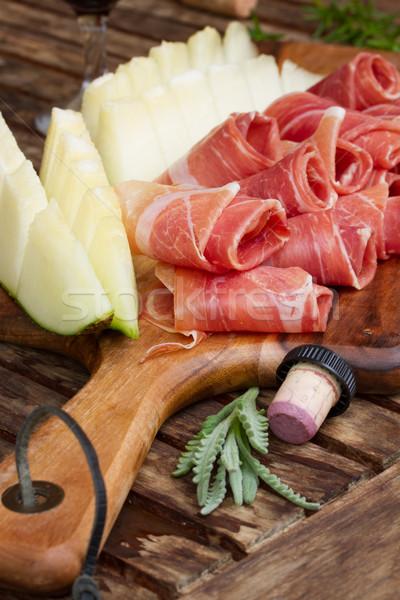 Espanhol tapas fatias carne de porco presunto vinho Foto stock © neirfy