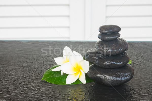 Nero zen pietre fiori tavola fiore Foto d'archivio © neirfy