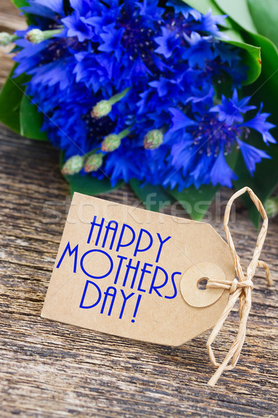 Stock photo: happy mothers day  Blue cornflowers