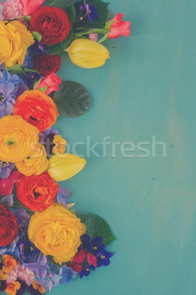 花 新鮮な 国境 青 木製のテーブル ストックフォト © neirfy