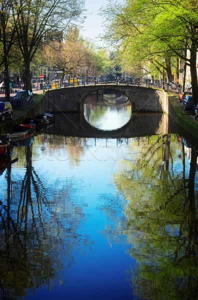 Brug Nederland kanaal spiegel hemel Stockfoto © neirfy