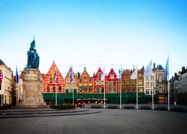 средневековых зданий рынке квадратный Бельгия ретро Сток-фото © neirfy