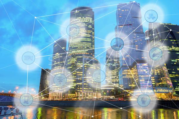 city and wireless communication network Stock photo © neirfy