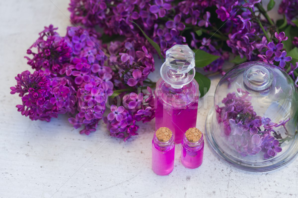 Lila esencia vidrio frescos flores naturaleza Foto stock © neirfy