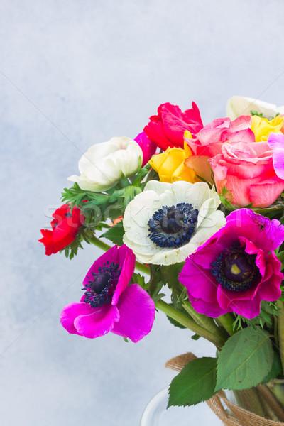 Stock photo: Anemones flowers on stone background