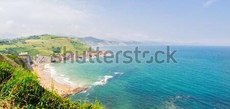 Part Spanyolország panoráma tengerpart dombok égbolt Stock fotó © neirfy