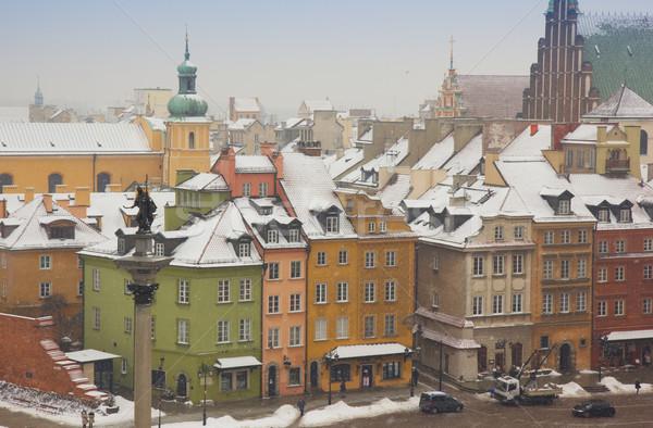 カラフル 住宅 旧市街 ワルシャワ ポーランド 冬 ストックフォト © neirfy