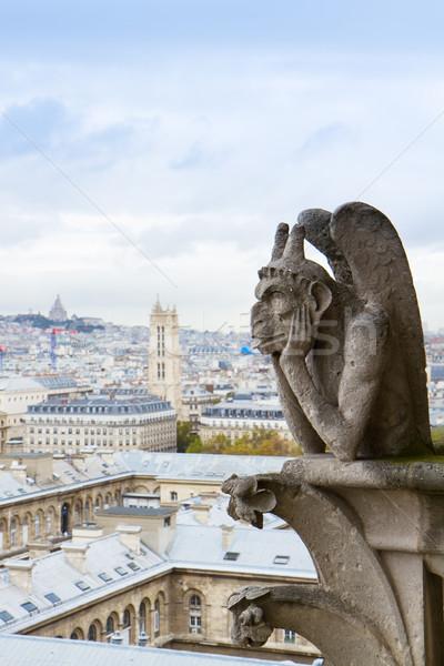 Stock fotó: Notre · Dame-katedrális · tető · Franciaország · város · Párizs · templom