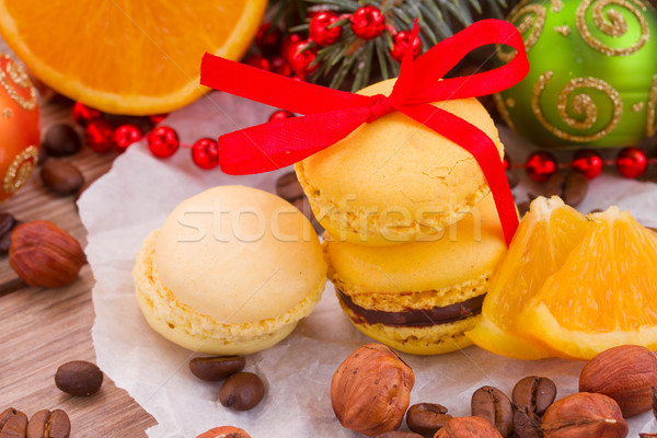 macaroons with christmas tree and decorations Stock photo © neirfy