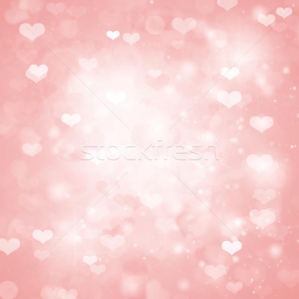 Valentin nap rózsaszín szívek esküvő szeretet szín Stock fotó © neirfy