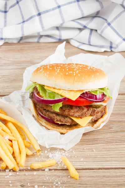 1 ビッグ ハンバーガー フライドポテト 新鮮な 牛肉 ストックフォト © neirfy