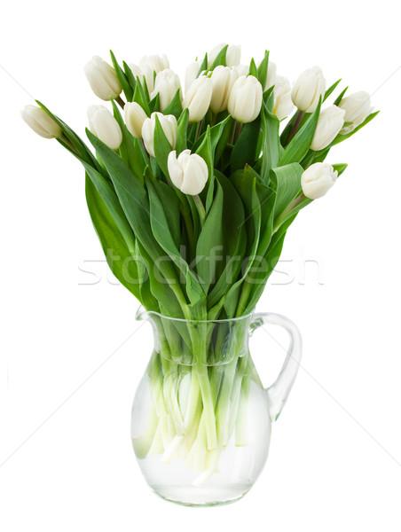 Virágcsokor fehér tulipánok váza üveg izolált Stock fotó © neirfy